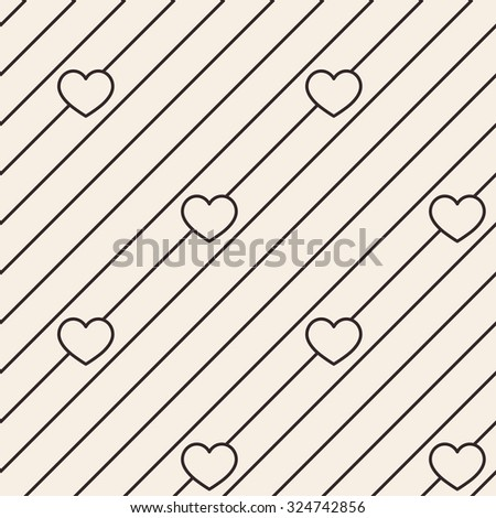 Hearts lines texture. Stripped geometric seamless pattern. Modern repeating stylish texture. Flat minimalistic texture on beige background. Vector - stock vector