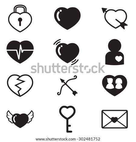 Hearts,Lover,couple Concept icons vector set of love signs - stock vector