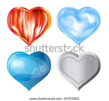 Hearts of fore elements concept: fire, air, water, metal. Vector, eps10 - stock vector