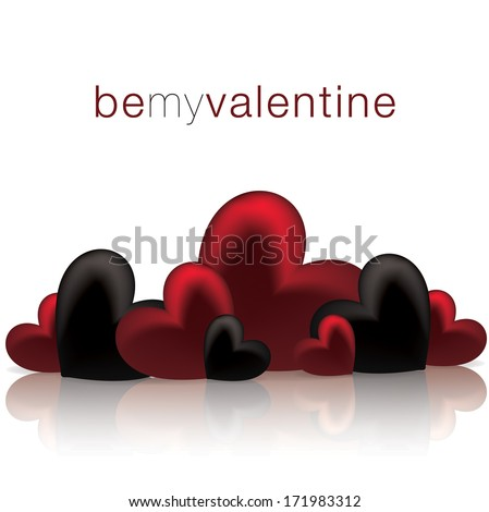 Hearts on a shiny surface Valentine's Day card in vector format. - stock vector