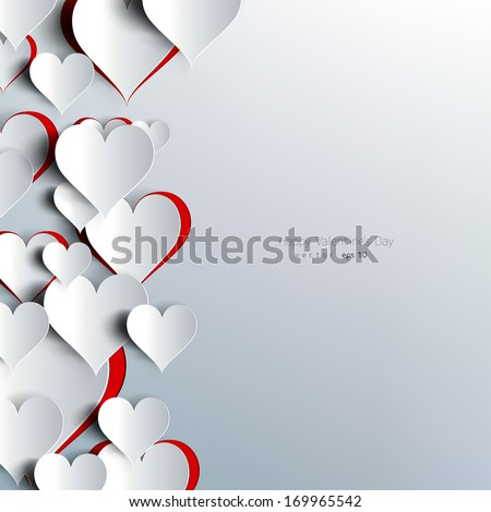 Hearts on abstract love background.Be my valentine.Love romantic messages with hearts.February 14.Valentines day card,banner.Global love day, may 1.Three dimensional red hearts shapes. - stock vector