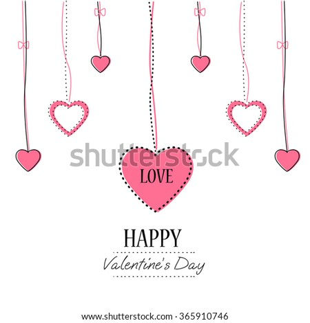 Hearts  on Valentines Day.  Weeding design elements. Vector illustration EPS10. Pink Background With Ornaments, Hearts. Doodles and curls. - stock vector