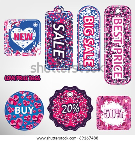 Hearts price tags - stock vector