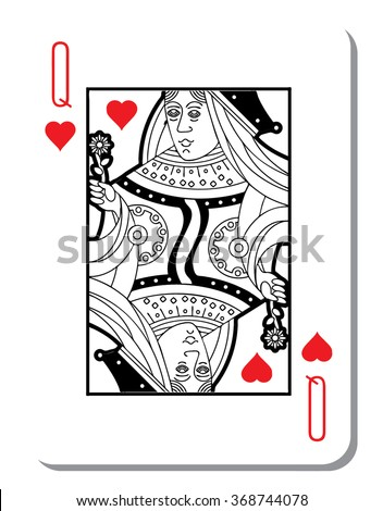 Hearts Queen Blank Background Poker Deck Stock Vector 368744078