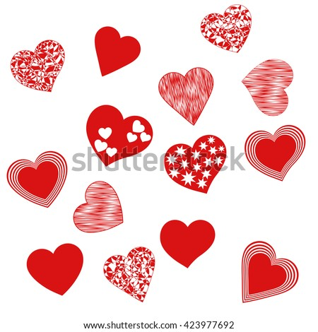 Hearts red. Set of icons on a white background. Collection for the celebration of Valentine's Day, engagements, weddings. Colorful elements with patterns. Romantic art. Symbol of love. Vector. - stock vector