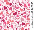 Hearts seamless background - stock vector
