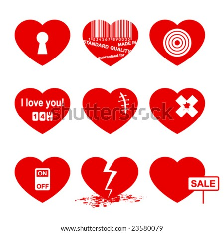 Hearts set ( allegory icon). - stock vector