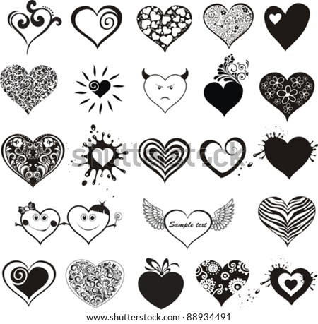 Hearts set for wedding and valentine design. hearts  isolated on White background. Vector illustration - stock vector