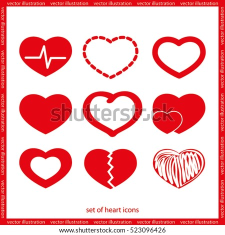 hearts set icon vector EPS 10, abstract signs human heart flat design,  illustration modern isolated badge for website or app - stock info graphics