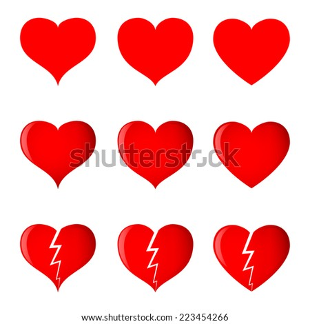 Hearts (simple, shaded and broken) in 3 different shapes. Vector illustration. - stock vector