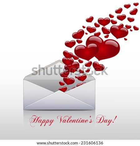 Hearts take off from  inside open envelope ,  concept love , Valentine Day. Vector - stock vector