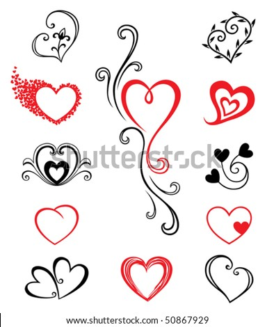 Hearts – Tattoo Set 2 - stock vector