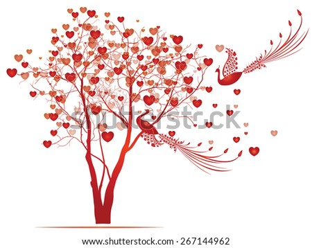 Hearts tree with two birds - stock vector