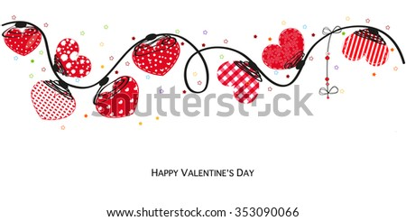 Hearts valentine day Happy valentines day card. Border design vector background - stock vector