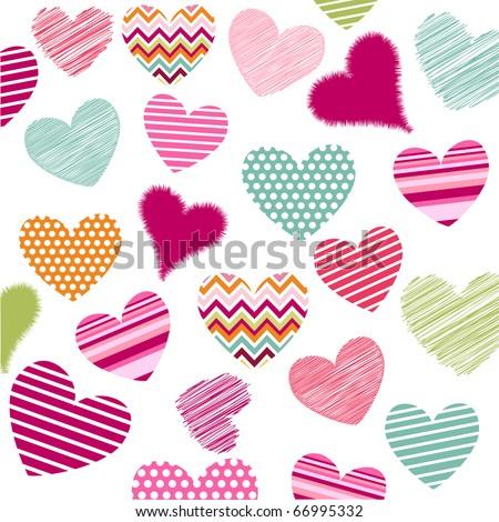 hearts valentine's icons - stock vector