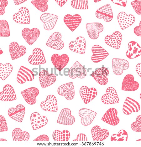 Hearts. Valentine Seamless pattern. Happy Valentine's day. Hand drawn doodle Hearts - Vector illustration.