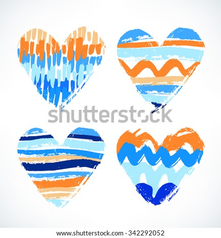 Hearts. Watercolor drawn symbol of love. Decorative striped hearts with different strokes - stock vector