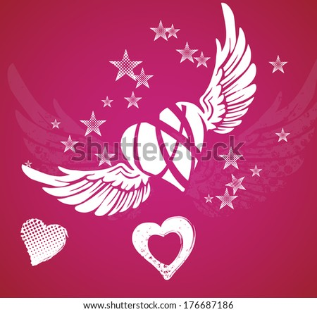 Hearts, wings and stars on red background - stock vector