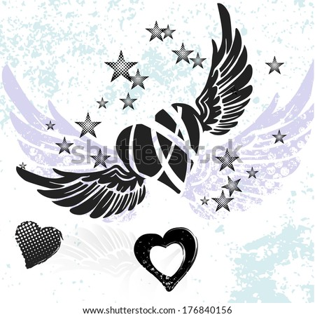 Hearts, wings and stars on white background - stock vector