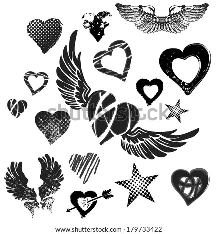 Hearts, wings and stars on white background, grunge, vector - stock vector
