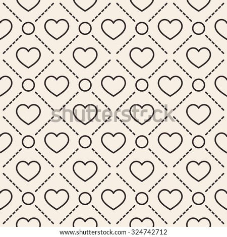 Hearts with circles lines texture. Stripped geometric seamless pattern. Modern repeating stylish texture. Flat minimalistic texture on beige background. Vector - stock vector
