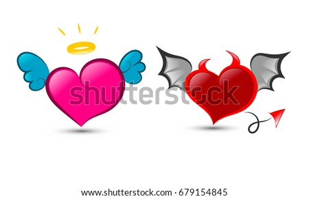Hearts Wings Halo Devil Horns Tail Stock Vector 2018 679154845