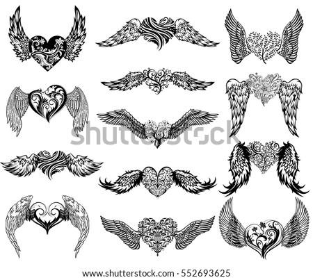 stock vektory na t ma hearts wings set tattoo mascot design bez autorsk ch poplatk 552693625. Black Bedroom Furniture Sets. Home Design Ideas