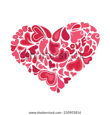 hearts within heart vector - stock vector