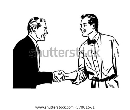 Hearty Handshake - Retro Clip Art - stock vector