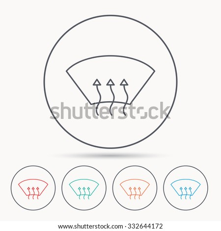 Stock Vector Heated Window Icon Windshield Arrows Sign Linear Circle Icons