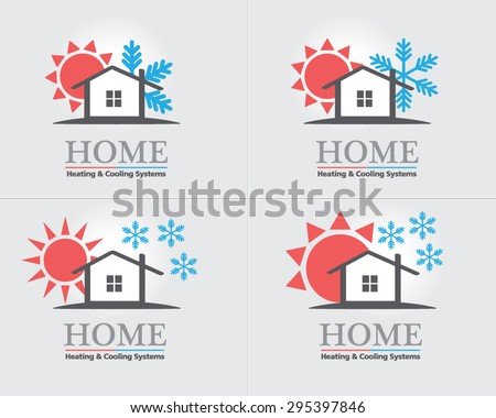 Heating & Cooling systems business icon set vector template. Brand visualization template. Vector illustration symbolizing home cooling & heating, climate control system. Typography proposal. Editable - stock vector