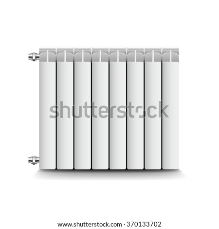 Heating radiator isolated on white photo-realistic vector illustration - stock vector