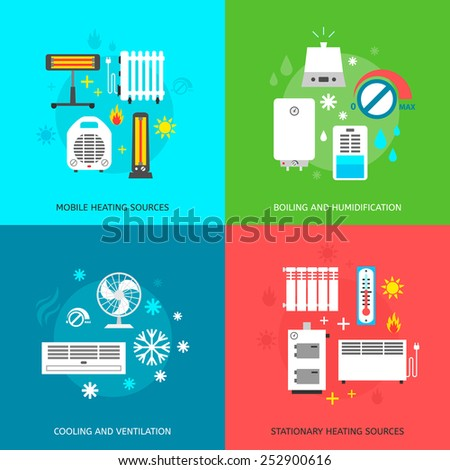 Heating ventilation and conditioning flat icons set. - stock vector