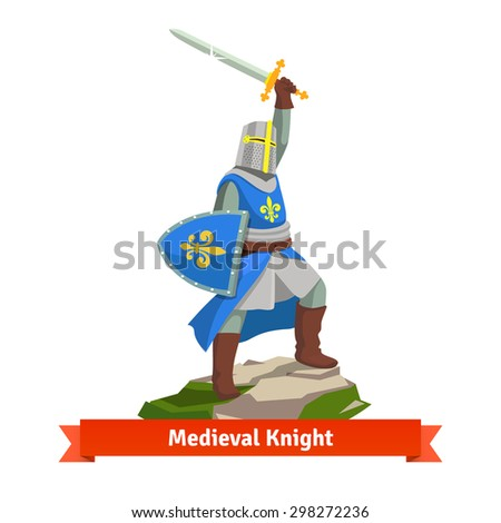 Heavy armoured french medieval knight standing with shield and sword. Flat vector illustration isolated on white background. - stock vector