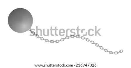 heavy ball with long chain, vector, isolated - stock vector