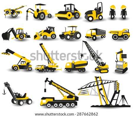 Heavy construction machines icons Set