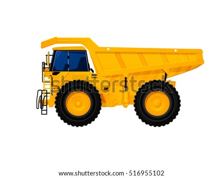 Heavy duty dump truck tipper drawing on white