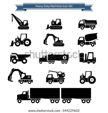 Heavy duty machines icons set - stock vector