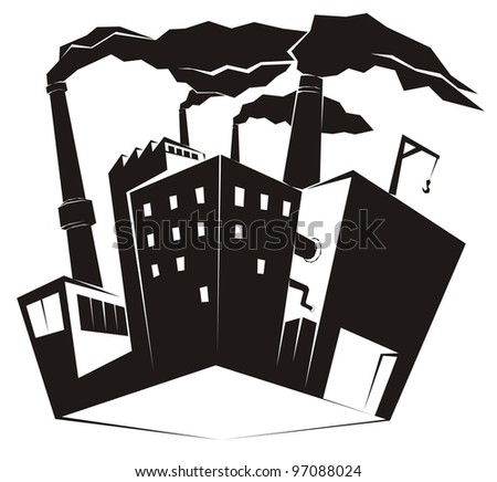 Heavy industrial site / factory with black smoke rising from high chimney stacks - industrial clip art vector illustration - stock vector
