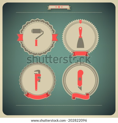 Heavy industry theme - construction site tools -   Paint roller, Spatula, Monkey wrench, Box knife.  - stock vector