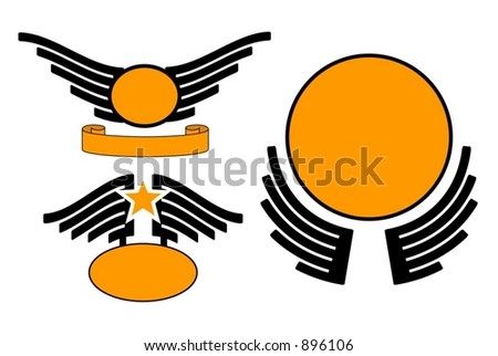 Heavy metal icons. Wings are fully separable. (Vectors 47)