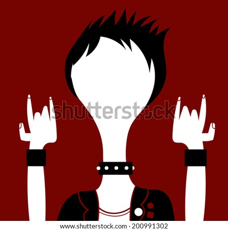 Heavy metal man with blank face - stock vector