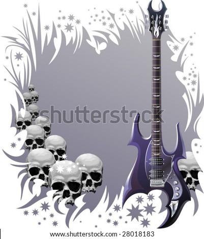 Heavy rock guitar and skulls. - stock vector
