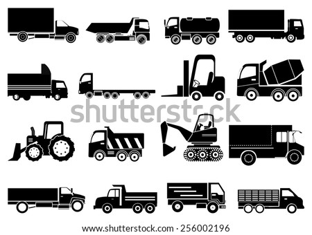 heavy vehicles icons set - stock vector