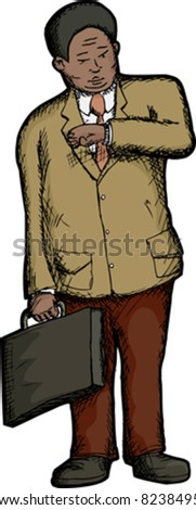 Heavyset businessman checks the time on his wristwatch - stock vector