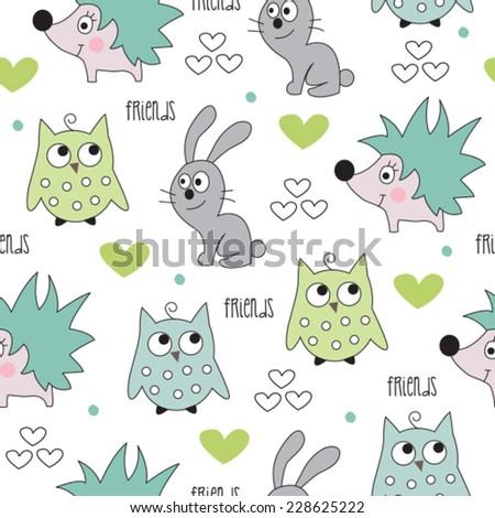 hedgehog, bunny, owl pattern vector illustration - stock vector