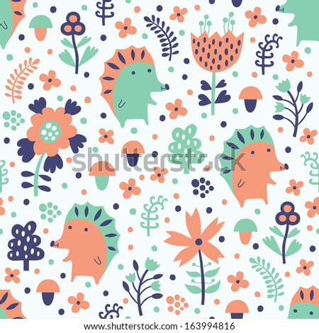 hedgehog seamless pattern