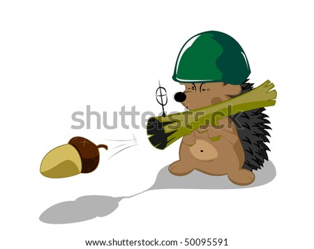 hedgehog the forest hero - stock vector