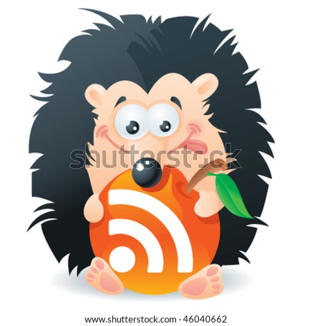 Hedgehog with an apple rss-button - stock vector
