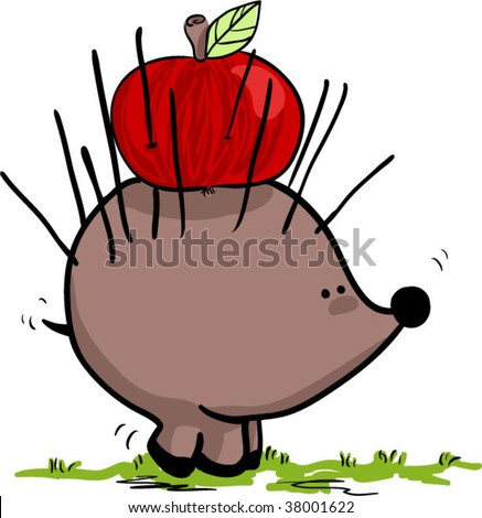 hedgehog with apple - stock vector